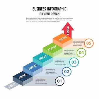 Infographics zakelijke sjabloon voor presentatie, verkoop voorspelling, webdesign