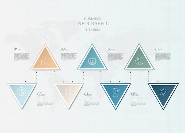 Infographics zeven element en pictogrammen voor bedrijfspresentatie