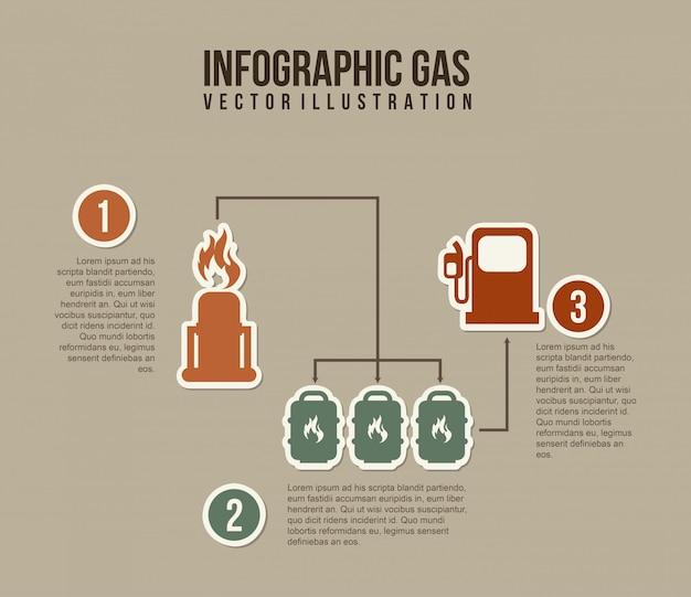 Infographicsbrandstof over grijze vectorillustratie als achtergrond