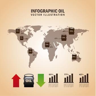 Infographicsbrandstof over roze vectorillustratie als achtergrond