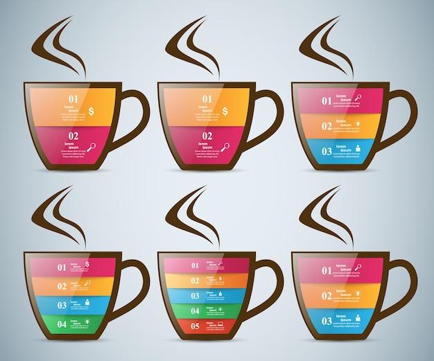Infographicskop van hete thee met rook.