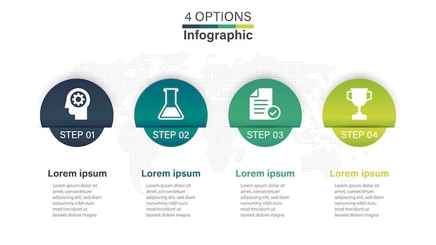 Infographicsmalplaatje bedrijfschronologie met 4 opties.