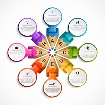 Infographicsmalplaatje met kleurpotloden.