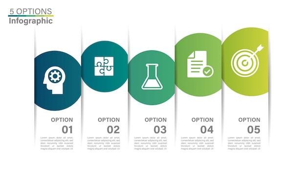 Infographicsmalplaatje van bedrijfschronologie met 5 opties.