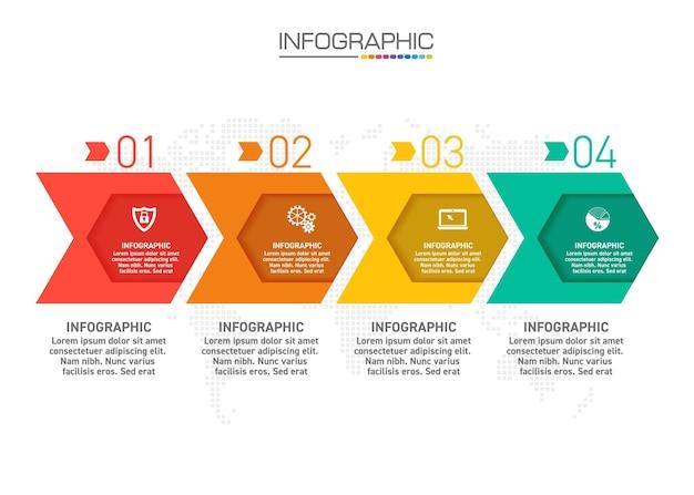 Infographicsontwerp 4 stappen met marketingpictogrammen kunnen worden gebruikt voor werkstroomlay-out, diagram, jaarverslag, webdesign.
