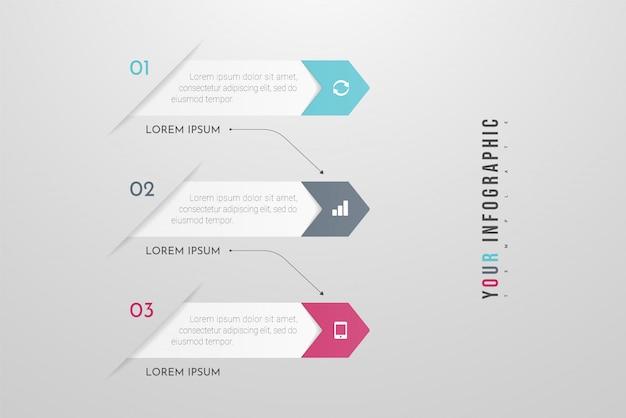 Infographicsontwerp en marketingpictogrammen met 3 opties, stappen of processen. kan gebruikt worden voor jaarverslag, stroomschema's, diagram, presentaties, websites. illustratie