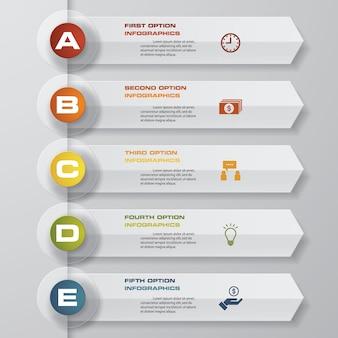Infographicsontwerp met 5 stappenchronologie.