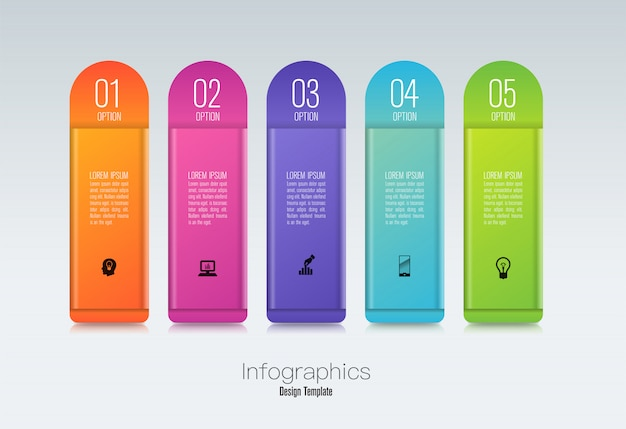 Infographicsontwerp met stappen of opties.