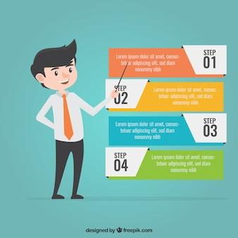 Infographicstappen met kleuren in vlakke stijl