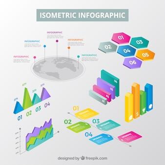 Inforgrafische elementeninzameling in isometrische stijl