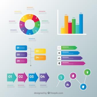 Inforgrafische elementeninzameling met vele kleuren