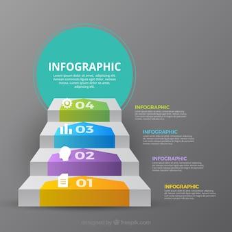 Inforgrafische stappenverzameling met vele kleuren