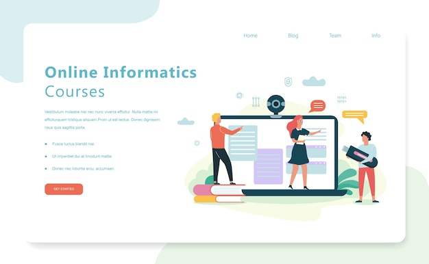 Informatica schoolvak online cursussen. onderwijs op computer, moderne technologie. laptop computerscherm. illustratie