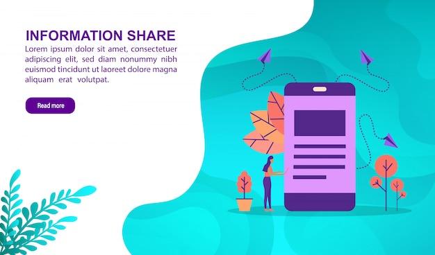 Informatie delen illustratie concept met karakter. bestemmingspaginasjabloon