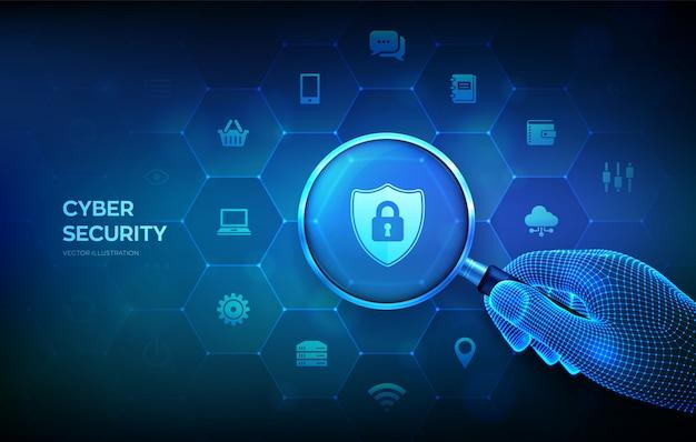 Informatie of netwerkbescherming concept met vergrootglas in draadframe hand en pictogrammen.