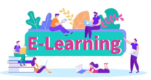 Informatie ontvangen studeren vanuit verschillende bronnen. afstand leren. online les. e-learning. online training
