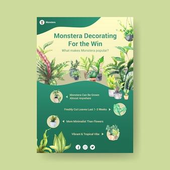 Informatie over zomerplant en kamerplanten sjabloonontwerp voor adverteren, folder, boekje aquarel illustratie