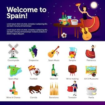 Informatie spanje voor toeristen op belangrijk cultureel nationaal aantrekkelijkhedenvoedsel