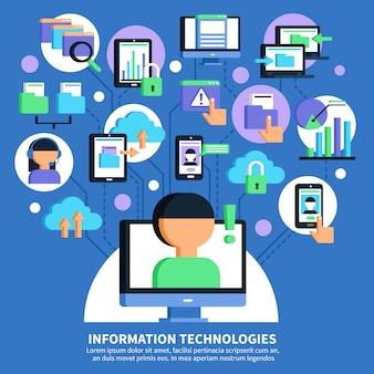 Informatie technologieën vlakke afbeelding