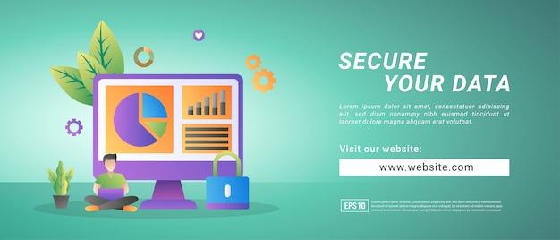 Informatiebanner gegevensbeveiliging, een oproep om belangrijke gegevens te beveiligen. banners voor promotiemedia