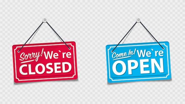 Informatieborden met het opschrift, kom binnen, we zijn open en sorry, we zijn gesloten. wit bord met een touw op de achtergrond. bedrijfsconcept voor gesloten en open bedrijven, sites en diensten