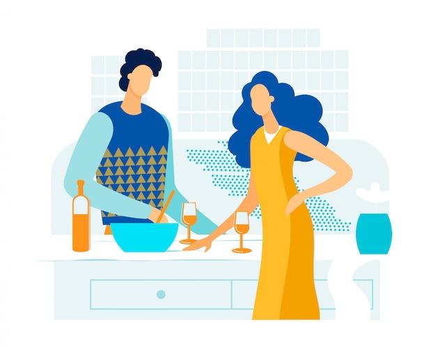 Informatief bannerdiner thuis verliefde paar.