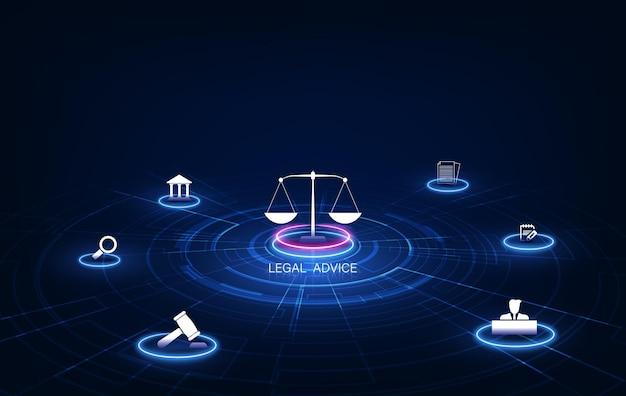 Informatietechnologie internet digitale justitie wet arbeidsrecht advocaat juridische business concept. vector illustratie
