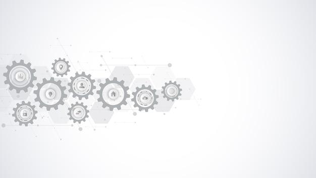 Informatietechnologie met infographic elementen en plat pictogrammen. tandwielen en tandwielmechanismen. hi-tech digitale technologie en engineering. abstracte technische achtergrond.