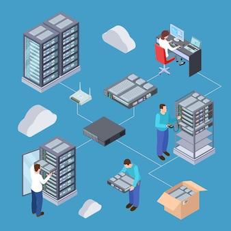 Informatietechnologie server engineer 3d-vector concept.