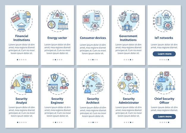 Informatietechnologiebeveiliging onboarding mobiele app-paginascherm met ingestelde concepten