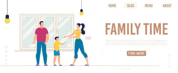 Informatieve banner inscriptie familie tijd, plat