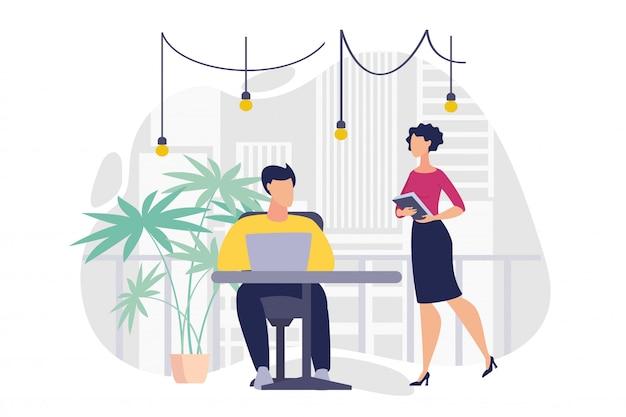 Informatieve banner office werkplek cartoon plat.