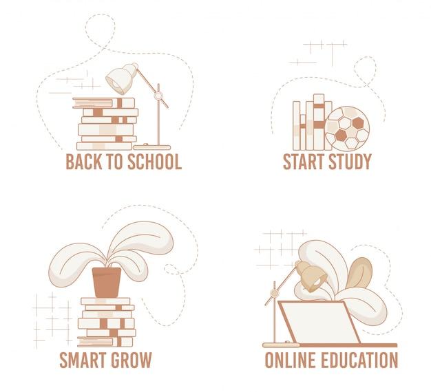 Informatieve banner set eenvoudige onderwerpen voor studie.