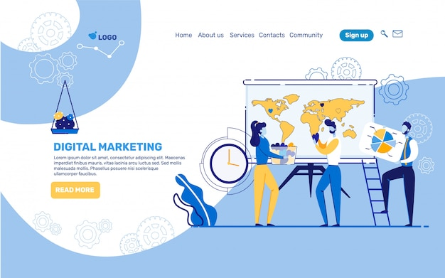Informatieve bestemmingspagina van digital marketing.