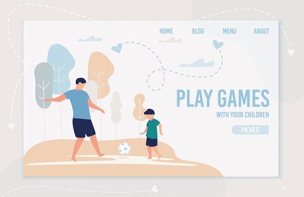 Informatieve flyer inscriptie games spelen, cartoon.