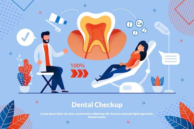 Informatieve flyer is geschreven tandheelkundige checkup.