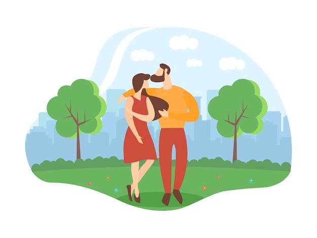 Informatieve flyer romantische relatie cartoon.