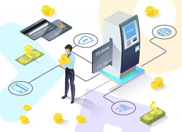Informatieve flyer voor juridische entiteiten bij de bank. bank biedt cliënt methodologische ondersteuning. informatie over encryptie en integriteitscontrole verzonden naar de bank. illustratie.