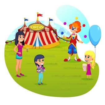 Informatieve poster circus performance cartoon.