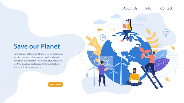 Informatieve poster geschreven save our planet flat.