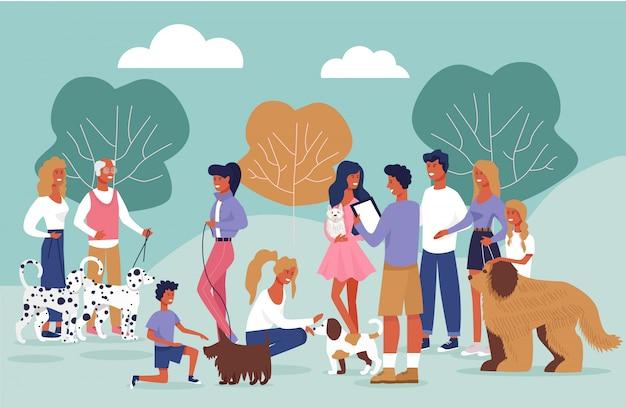 Informatieve poster hondenbezitters die cartoon ontmoeten.