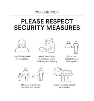 Informatieve poster met beveiligingsmaatregelen om een vestiging binnen te gaan. crisis covid-19