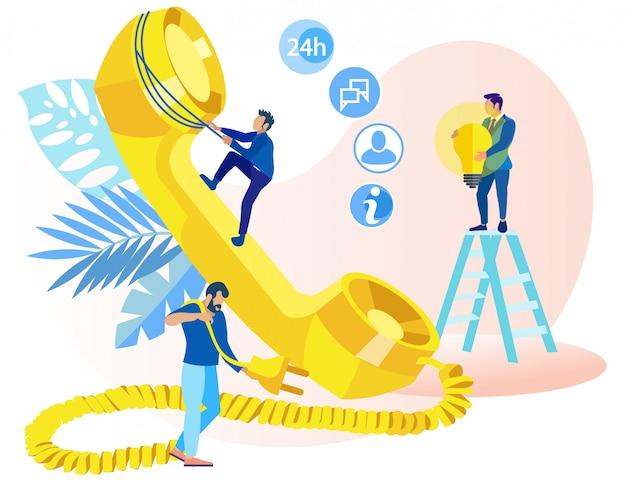 Informatieve poster telemarketing ideeën plat.