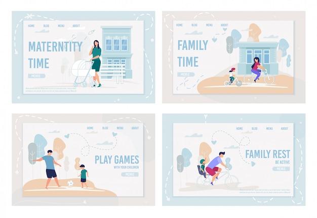 Informatieve set flyer inscriptie familie tijd.