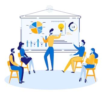 Informatieve studie concurrenten cartoon. werk in dynamische ringmodus en bied marketingflexibiliteit. mannen en vrouwen zitten en luisteren naar spreker in de buurt van schema. illustratie.