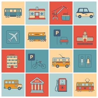 Infrastructuurpictogrammen van de stad