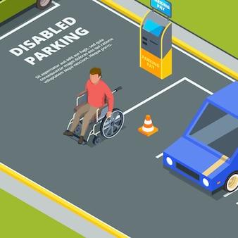 Ingang voor parkeren in de stad voor mensen met een handicap