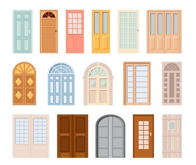 Ingang voordeuren geïsoleerde vector pictogrammen. cartoon interieur- en exterieurontwerpelementen voor kamer- of kantoordecoratie. glazen, metalen of kunststof deuropeningen en roosters met ramen, gesloten deuren set