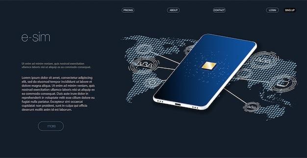 Ingebed sim-concept. nieuwe mobiele communicatietechnologie. concept voor mobiele simkaarttechnologie en netwerk. futuristische projectie esim-kaart. illustratie sim-kaart. draadloze mobiel.
