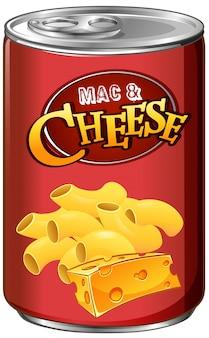Ingeblikte mac en kaas op wit